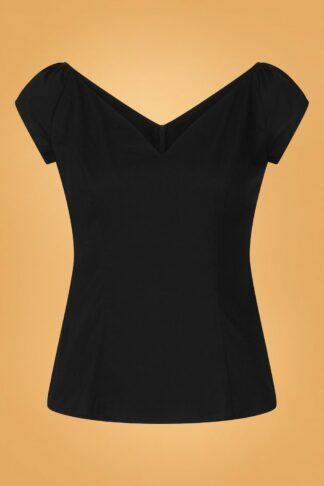 50s Petunia Top in Black