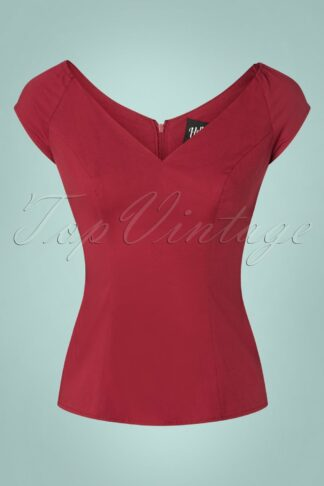 50s Petunia Top in Burgundy