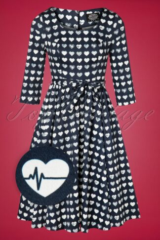 50s Piper Hearts Swing Dress in Navy