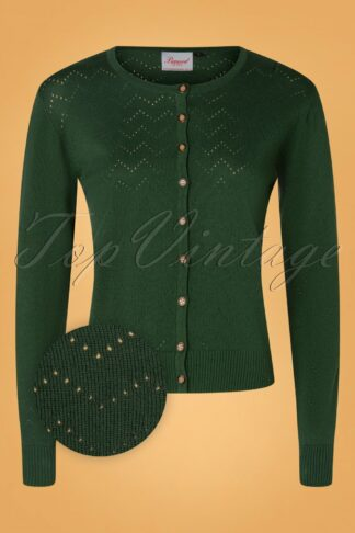50s Pointelle Zigzag Cardigan in Green