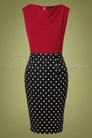 50s Ramona Polkadot Wiggle Dress in Red and Black