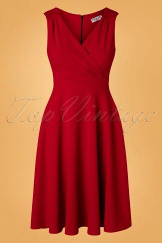 50s Rita Swing Dress in Lipstick Red