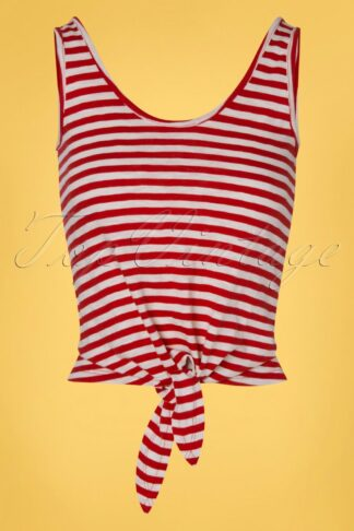 50s Royale Stripes Knot Singlet in Chili Red