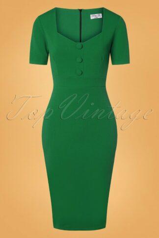 50s Samara Pencil Dress in Emerald Green