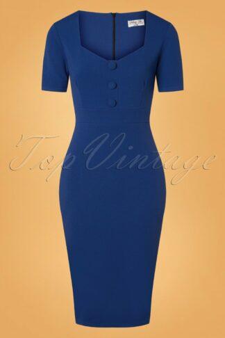 50s Samara Pencil Dress in Royal Blue