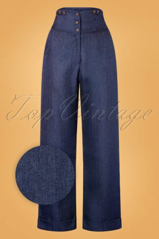 50s Sassy Trousers in Blue