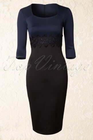 50s Scarlet Lace Dress in Navy and Black