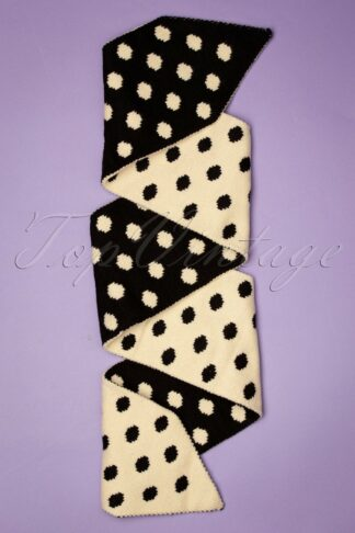 50s Sharon Polka Scarf in Black and Cream