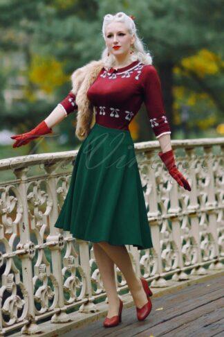 50s Sheila Swing Skirt in Forest Green