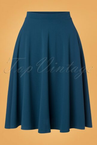 50s Sheila Swing Skirt in Petrol Blue