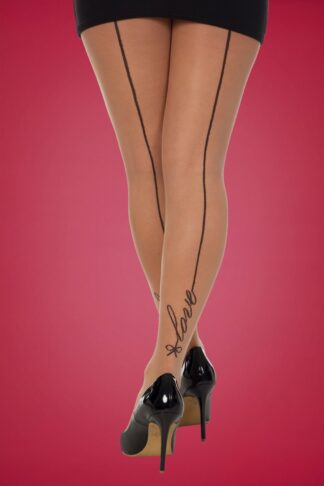 50s Signature Love Seamed Tights in Nude and Black