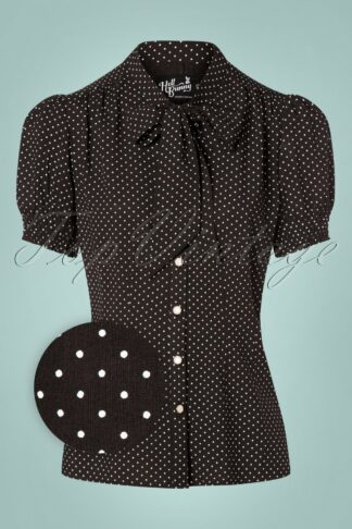 50s Sophia Pin Dots Blouse in Black and White