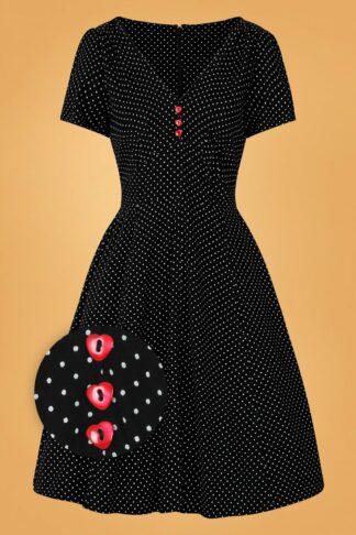 50s Sophia Pin Dots Swing Dress in Black and White