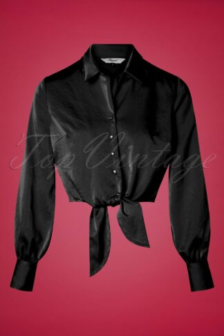 50s Suave Tie Blouse in Black