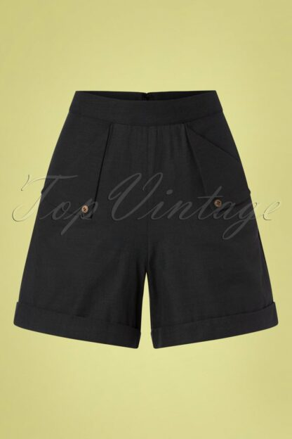 50s Sweet Summer Sail Shorts in Black