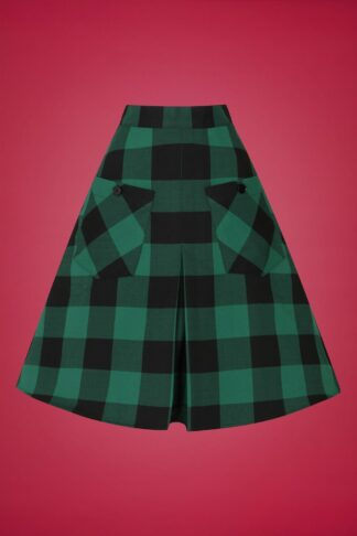 50s Teen Spirit Skirt in Black and Green
