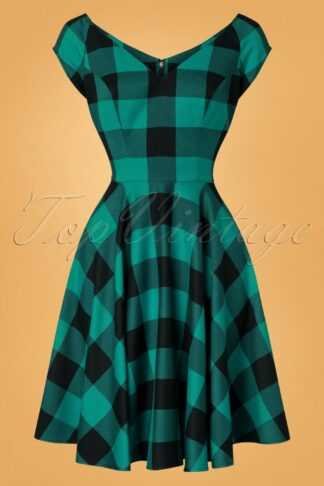 50s Teen Spirit Swing Dress in Black and Green