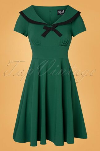 50s Thea Swing Dress in Dark Green
