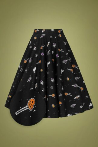 50s Trick Or Treat Swing Skirt in Black