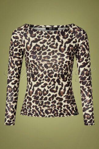 50s U Boat Long Sleeve Top in Leopard