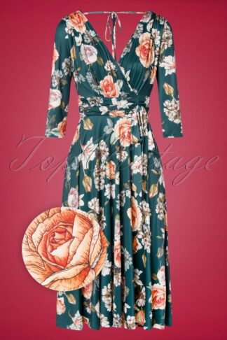 50s Vianna Floral Dress in Petrol Green