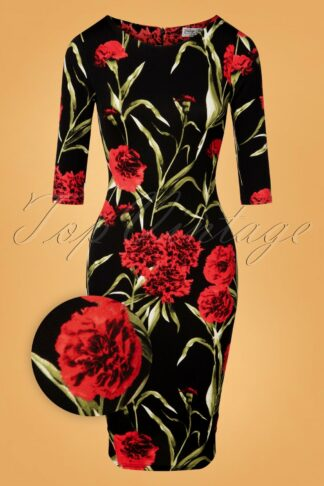 50s Victoria Floral Pencil Dress in Black