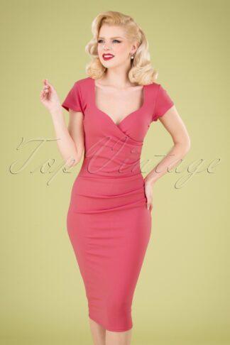 50s Violetta Pencil Dress in Rose Pink