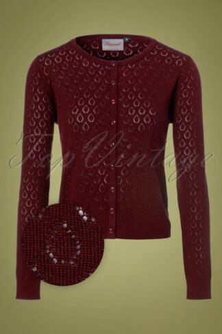 50s Watch Out Cardigan in Burgundy