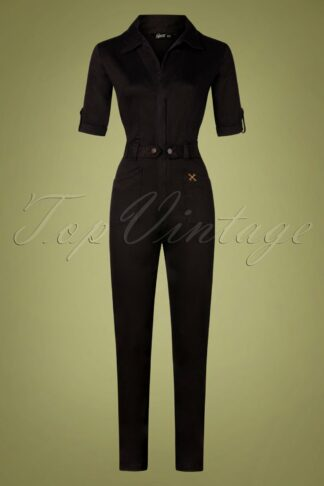 50s Workwear Overall in Black Denim