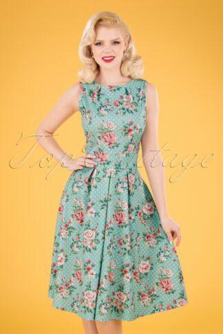 50s Yana Floral Dots Swing Dress in Mint