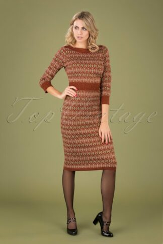 60s Audrey Midi Taboo Dress in Henna Red