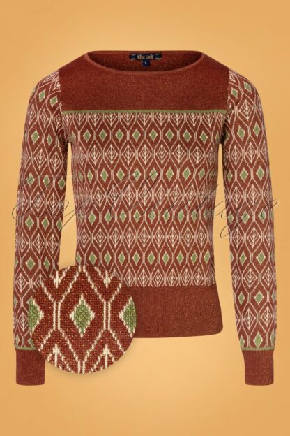 60s Bella Taboo Knit Top in Henna Red