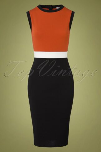60s Bionda Pencil Dress in Black and Cinnamon