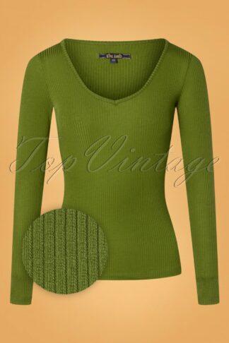 60s Carice Tencel Rib V Top in Olive Green