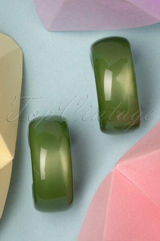 60s Chelsea Hoop Earrings in Olive