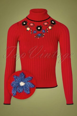 60s Cheri Fleur Turtleneck Sweater in Chili Red