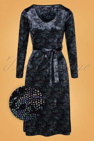 60s Cobie Velvet Dress in Black and Blue