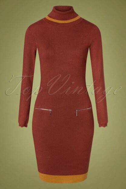 60s Diane Pencil Dress in Rust and Mustard