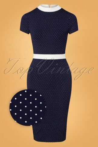 60s Dora Dots Pencil Dress in Navy