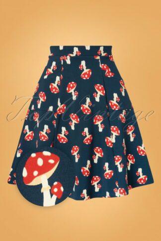 60s Elfentanz Skirt in Mushroom Party Blue
