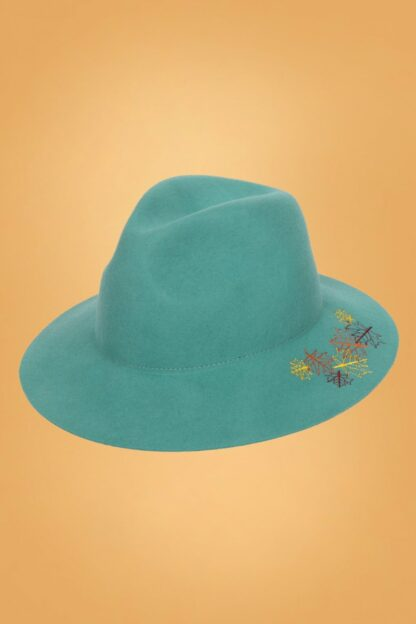 60s Embroidered Leaf Hat in Teal