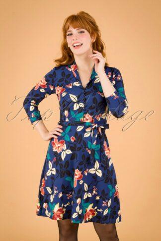 60s Emmy Kyoto Dress in Tokyo Blue