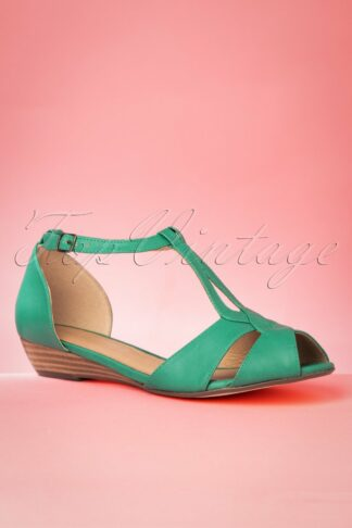 60s Florence Peeptoe Sandals in Teal