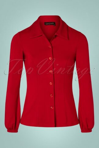 60s Ginny Blouse in Fire Red