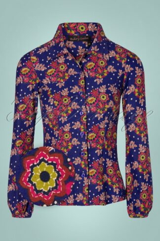 60s Ginny Clematis Flowers Dots Blouse in Royal Blue