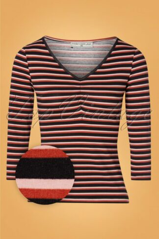 60s Good Times Top in Red and Black Stripes