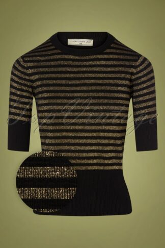 60s I Got Stripes Knit Top in Black and Gold
