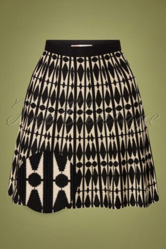 60s Isaya Harlequin Skirt in Black en Cream
