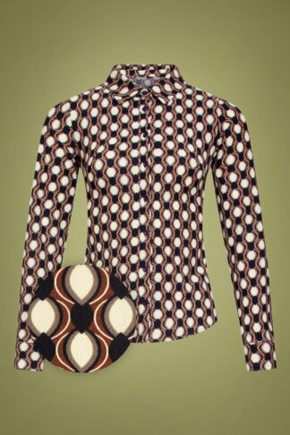 60s Jeanne Blouse in Brown