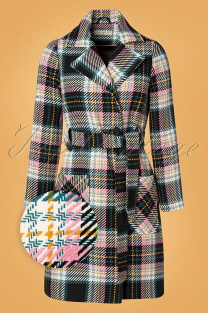 60s Let's Cozy Up Coat in Black and Petrol